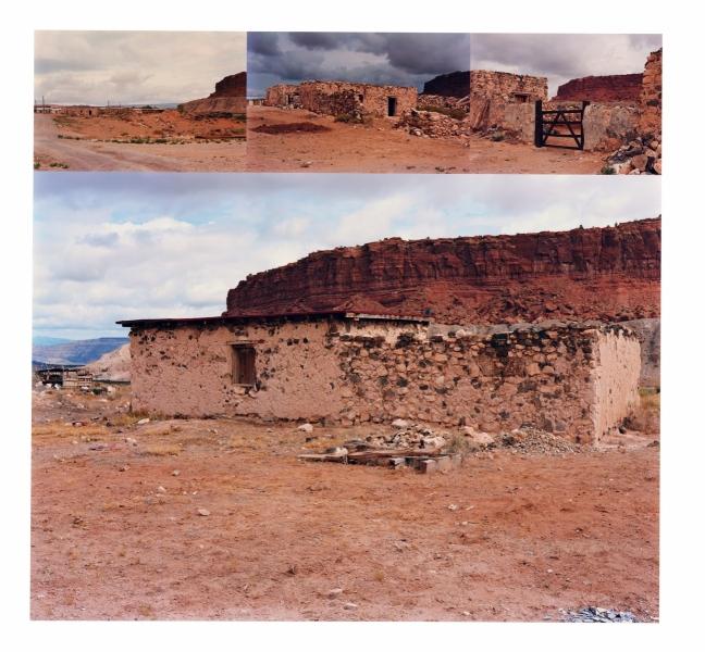 DISSOLVING MESA, MESITA VILLAGE, LAGUNA PUEBLO, NEW MEXICO ,17.5x17.5   Ektacolor prints on 22x30 paper mount, 1983-84