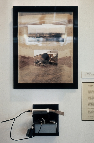 """ANACONDA URANIUM MINE AT PAGUATE, LAGUNA PUEBLO, NEW MEXICO 4  ektacolor contact prints in plexiglass box  14x17x4"""" , filled with sand from Anaconda mine.  Poem, After the Pow-wow 1982  by Harold Littlebird  on wall and geiger counter on shelf, 1985"""