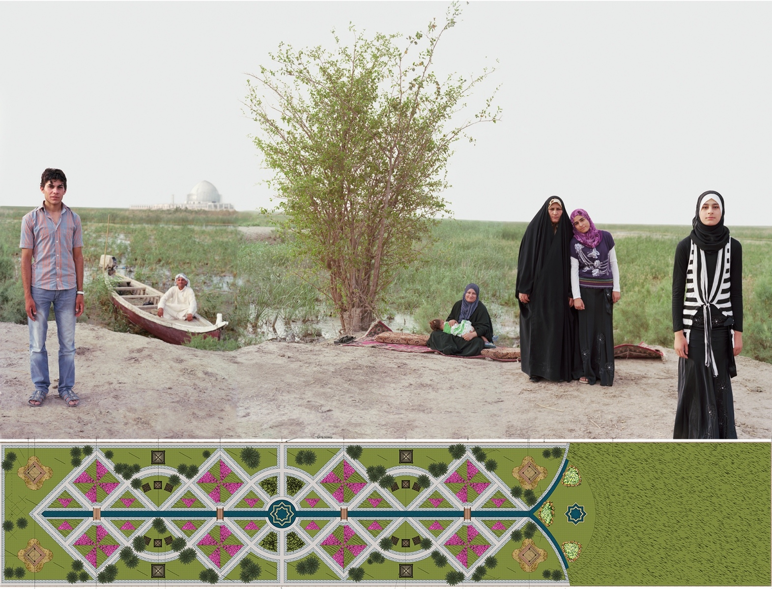 """ADAM AND EVE IN THE IRAQ MARSHES, NEAR THE POSSIBLE HISTORIC SITE OF THE GARDEN OF EDEN 2011-2012. 34 x 59.83, linen (with border 41 x 66"""")"""