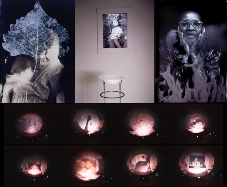"""Eleemosynary, video installation presented at the Bunting Institute, Harvard University 1998. Blown glass bowl in steel stand with video projection from below, surrounded and inset on 3 walls  by 3  lightbox  portraits, made of Cibachrome transparencies overlaid by sandblast image 17x14x4"""""""