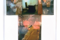 """TEA SUTRA Robe, four Iris prints, on vellum from montaged video stills and digital imagery, floated in sanded acrylic case, 52"""" x 46""""."""