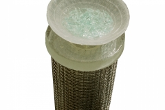 """BEGGING/OFFERING, Vietnamese child's bamboo hat cast in glass, filled with broken tempered glass, seated on cast glass base atop rolled steel mesh column, 42x8"""""""
