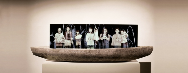 """Volunteers, Glass in boat with sand 13.5"""" x 48"""""""