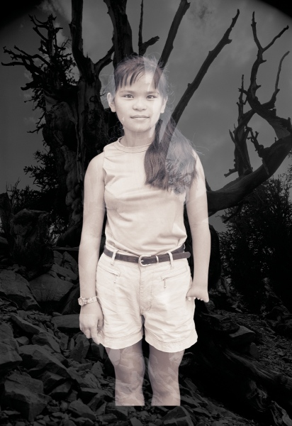 """Anni with Bristlecone Pine, 18"""" x 121⁄2"""". Anni Rita Nagy at twelve years old. As an infant in a Hain- ing, Zhejiang Province orphanage, she was adopted by a family in Tarriffeville, Connecticut."""