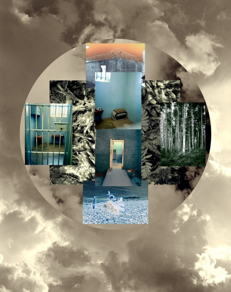 """MANDELA'S CELL MANDALA, SOUTH AFRICA 2006-2007 including Robben Island Cell at Capetown, S. Africa, 54x40"""" pigment print 2007-8,  Also collage assemblage version"""